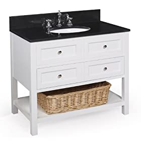 New Yorker 36-inch Bathroom Vanity (Black/White), Includes Cabinet with Granite Countertop, Ceramic Sink, and Chrome Faucet