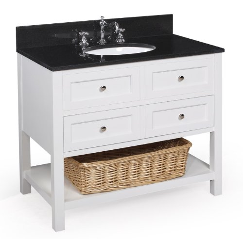 where to new yorker 36 inch bathroom vanity black white includes a white cabinet soft close drawers a granite countertop and a ceramic sink