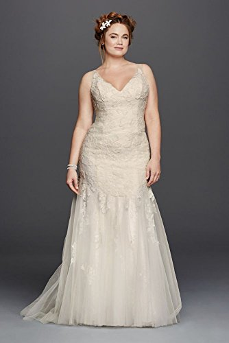Lace Plus Size Melissa Sweet Illusion Tank Wedding Dress Style 8MS251150,...