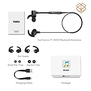 Bluetooth Headphones, TaoTronics Wireless 4.1 Magnetic Earbuds Stereo Earphones, Secure Fit for Sports with Built-in Mic [Upgraded Version]