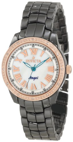 Invicta Women's 10328 Ceramics Angel White Mother-Of-Pearl Dial Diamond Accented Black Ceramic Watch