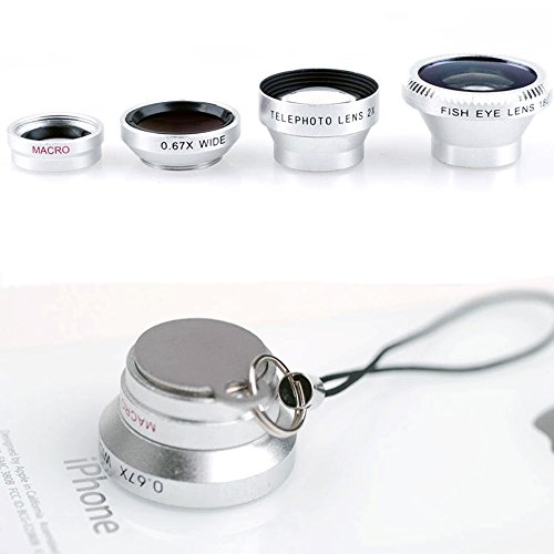 Lightdow 3IN1 Fish Eye Lens + Wide Angle Lens + Macro Lens + Telephoto lens Magnetic For iPhone 4 4s 5 5s 6 Plus Samsung Galaxy S6 S5 S4 S3 (Dazzle Silver) (Iphone 5 Color Conversion compare prices)