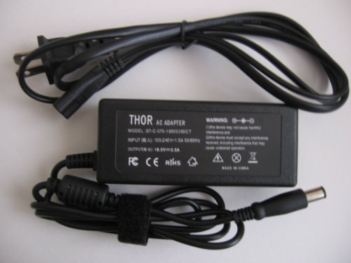 Thor Brand Replacement Ac Adapter Plug for Compatible Hp Pavilion Ac Adapter Dv4-1281us Dv4-1283cl Dv4-1287cl Dv4-1308ca Dv4-1313dx Dv4-1320ca Dv4-1322us Dv4-1379nr Dv4-1417ca Dv4-1419ca Dv4-1427nr Dv4-1428ca Dv4-1430us Dv4-1431us Dv4-1433cl Power Cord Power Supply 65 Watt 65w