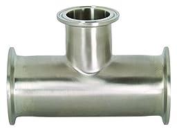 Dixon B7RMP-R15050 Stainless Steel 316L Sanitary Fitting, Reducing Clamp Tee, 1-1/2\