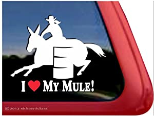 Amazon.com: I Love My Mule!~ Barrel Racing Mule Horse Trailer Vinyl