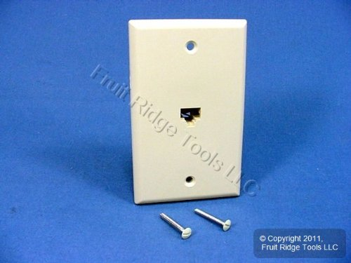 Leviton 40280-I Standard Telephone Wall Jack, Ivory