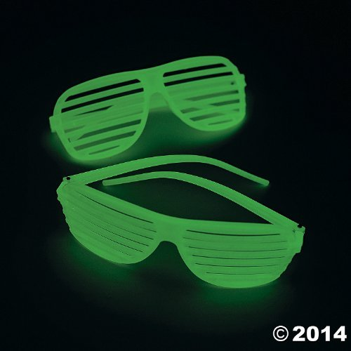 Fun Express One Dozen Plastic Glow-in-The-Dark Shutter Shading Glasses