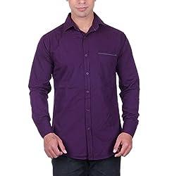 Cotblend Men's Casual Shirt (CB-CBN-Purple-L, Purple, L)
