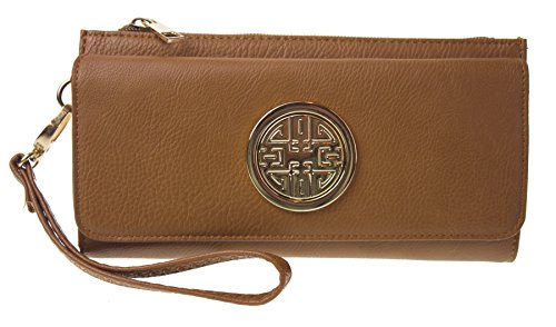Canal Collection PVC Leather Tri-Fold Wrislet Wallet with Emblem (Camel) (Magnetic Emblem compare prices)