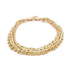 buy Romantic Time Golden Wheat Herringbone Braided Unique Style 18K Rose Gold Plated Link Bracelet