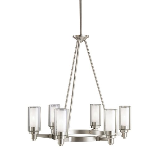 B0014D7M8U Kichler Lighting 2344NI Circolo 6-Light Chandelier, Brushed Nickel with Clear Glass Cylinders and Satin-Etched Inner Cylinders