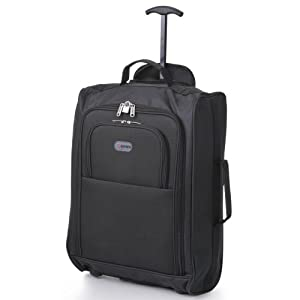 5 Cities Hand Luggage Travel Holdall Baggage Wheely Suitcase Cabin Approved Bag 55x35x20Ryanair Easyjet And Many More - 1.65k - 42 Litres - PADLOCK INCLUDED (1 Piece, Black)