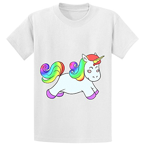 Snowl Happy Unicorn Girls Crew Neck Print Tee White