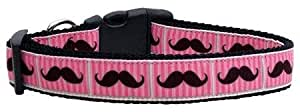 Mirage Pet Products Pink Striped Moustache Ribbon Dog Collar Large
