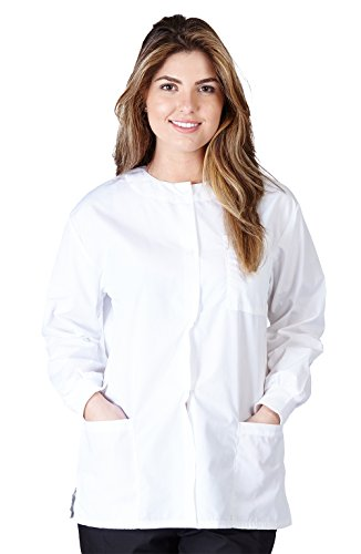 Natural Uniforms Women's Warm Up Jacket (White) (Small) (Plus Sizes Available)