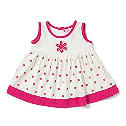 Camey Girls Pink Apple Cotton Frock Set (12-18 months)
