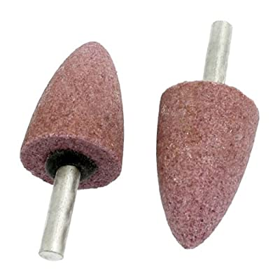 uxcell 2 Pcs 25mm x 39mm Cone Shape 6mm Shank Abrasive Mounted Point Pink