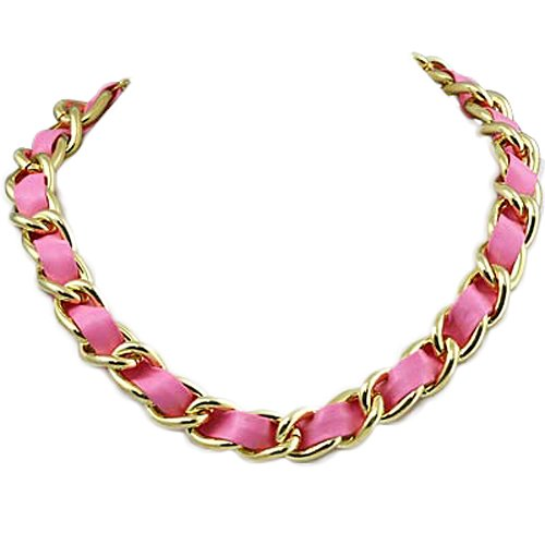 Goldtone with Pink Leather Chain 18