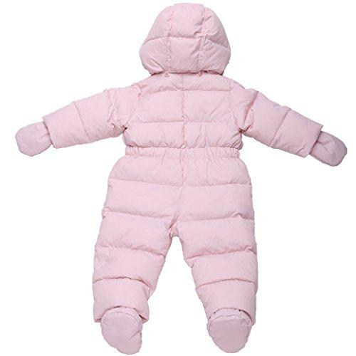 Oceankids Baby Girl's Pink One-Piece Detachable Hood Duck Down Snowsuit 12M 9-12 Months