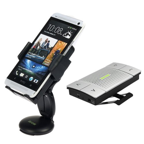 Ikross 3In1 Universal Compact Windshield / Dashboard / Air Vent Car Mount Holder + Wireless Bluetooth Visor Speaker Phone Handsfree Car Kit For Htc Desire 610, One (M8), Desire / Desire 601, One Max, One Mini Lg Nokia Samsung And More