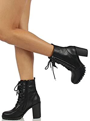 3d8bfd5f1544 Soda Women s Malia Faux Leather Lace Up Chunky Ankle Boot