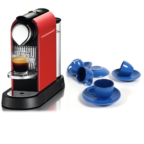 Nespresso Citiz C111 Fire Engine Red Automatic Espresso Maker With Free 8 Piece Retro Blue Cup And Saucer Set