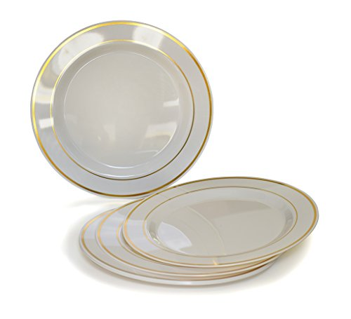 """OCCASIONS"" Disposable Plastic Plates, Ivory/Bone with Gold rim (120 items, 7.five"" salad/dessert plate)"
