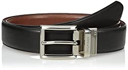 Tommy Hilfiger Mens Dress Reversible Belt with Polished Nickel Buckle, Black/Brown, 36