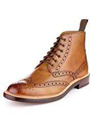 Savile Row Inspired Leather Goodyear Welted Brogue Boots