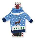 """Ugly Sweater Knitted Wine Bottle Covers - """"Uncle Bob's Ugly Sweater"""" - Reindeer"""