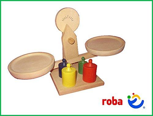 Waage mit Gewicht Kaufladen Holz Balancewaage