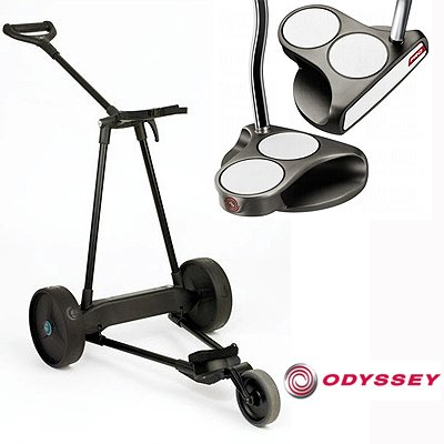 New! Emotion E3 23Lbs Pull Push Electric Motorized 3-Wheel Golf Cart Trolley + New! Odyssey White Hot Pro 2Ball Putter