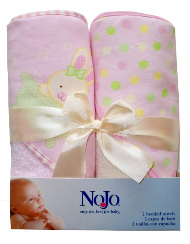 Nojo Character Bath Collection 2 Pack Printed Interlock Woven Terry Hooded Towel Set, Bunny
