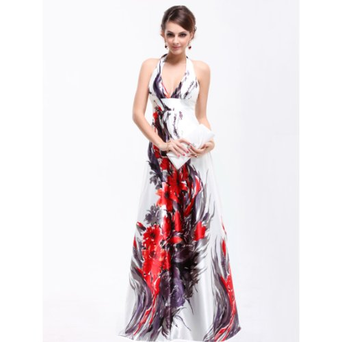 Ever Pretty Empire Waist Padded Floral Print Sexy Plunge V-neck Prom Dress 09614, HE09614WH06, Multiple(white), 4US