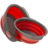 "[Set of 2] Collapsible Silicone Kitchen Strainer (Colander) Set By Comfify Includes 2 Silicone Strainer Sizes 8"" - 2 Quart and 9.5"" - 3 Quart Red and Grey"