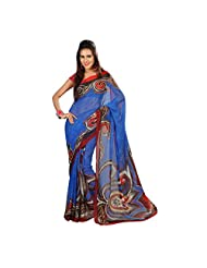 Admyrin Blue Georgette Printed Saree With Red Blouse Piece