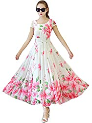 Clickedia Women & Girls Beautiful Digital Printed Faux Georgette Semi Stitched White Flower Gown
