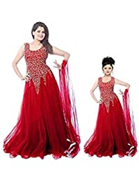 SKY GLOBAL Women's Net Embroidered Semi-Stitched Gown For Women And Girls ( Combo Of 2)(Sky_Kids_8093)(Sky_Gown...