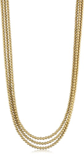 K. Amato Chain and Triple Strand Beaded Gold Necklace