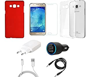 NIROSHA Tempered Glass Screen Guard Cover Case Charger for Samsung Galaxy J5 - Combo