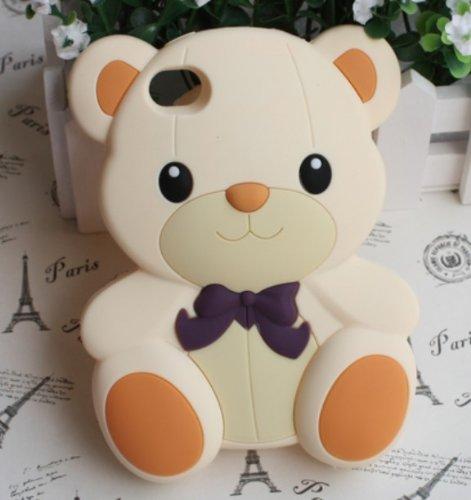 3D Cute Teddy Bear Soft Rubber Back Case Cover