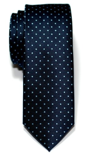 Retreez Pin Dots Woven Microfiber Skinny Tie - Navy Blue with Light Blue Pin Dots (Mens Retreez Skinny Ties compare prices)