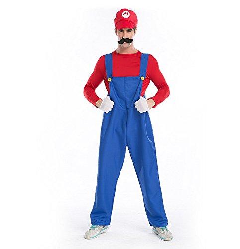 Mens Halloween Cosplay Jumpsuit Halloween Costume Red X-Large For Mario Luigi Brothers (Mario Costume Adult)