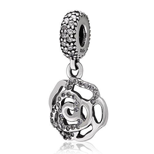 Hoobeads-Ciondolo in argento Sterling 925, pendente a forma di rosa, perline, con zirconia cubica trasparente, per braccialetti europei Father & (figlia)