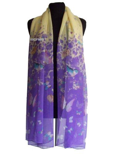 Butterfly Scarf (Colour: Purple) Lots of Small Butterflies Wrap Summer Scarf Shawl Stole (Code BFS Scarf)