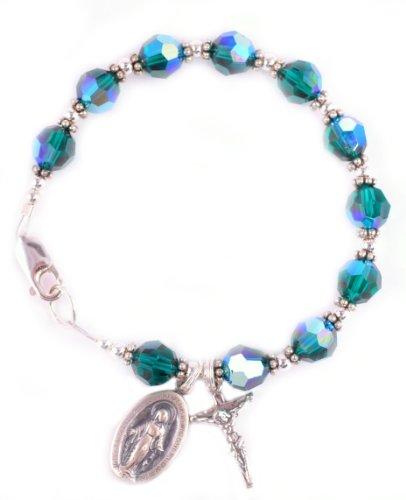 Rosary Bracelet Swarovski Crystal Sterling Silver Birthstone Emerald / May