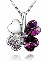 ElleClub Purple Crystal Four Leaf Clover Heart Shape Pendant Swarovski Elements Necklace with 18'' Silver plated Chain