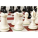 Quadruple Weight Tournament Chess Game Set - Chess Board Game with Staunton Ivory Chess Pieces, Red Vinyl Chess Board