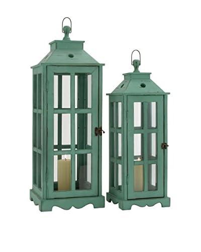 Deco 79 Set of 2 Metal Glass Lanterns, Green