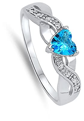 Heart Simulated Aquamarine Unique Ring .925 Sterling Silver Infinity Knot Sizes 4-10